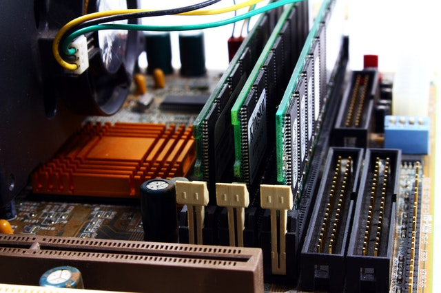 A computer motherboard manages communication between CPU and hardware devices.