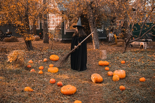 Witch expressions are often scary and they are thought to wear a cloak with a pointed hat.
