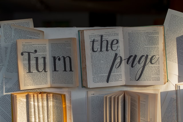 Keep turning the pages of a book to learn.