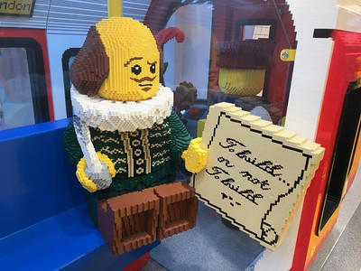 To Build or Not to Build, ponders this brickish Bard within London's Lego Store.