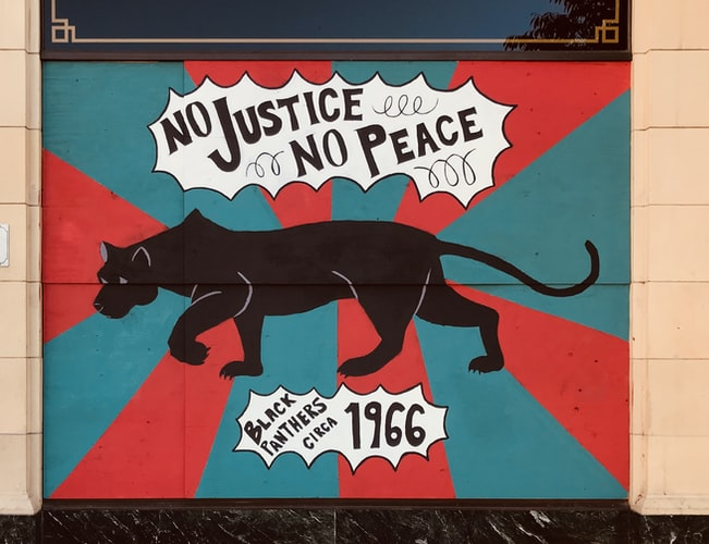 No justice no peace - Black Panthers Party co-founded by Huey Newton.