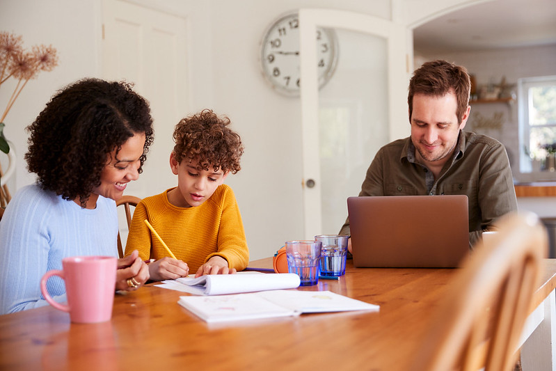 Homework often involves family members acting as home teachers to help students.