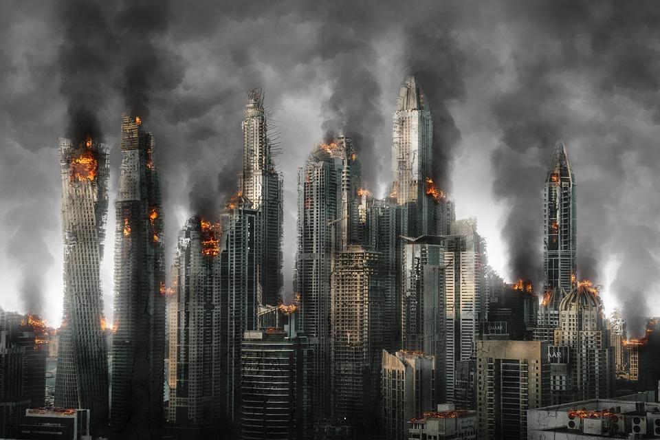Destruction caused by Armageddon.