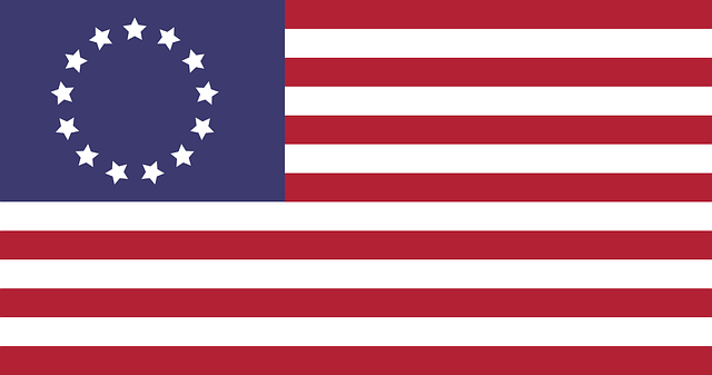 The first American flag made by Betsy Ross.