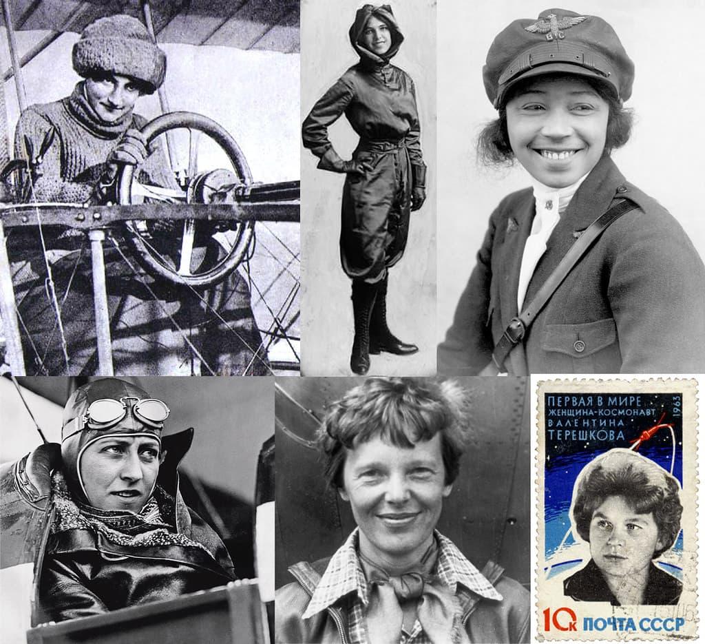 Clockwise from top left: Raymonde de Laroche, Harriet Quimby, Bessie Coleman, Amy Johnson, Amelia Earhart, Valentina Tereshkova (on a commemorative stamp).