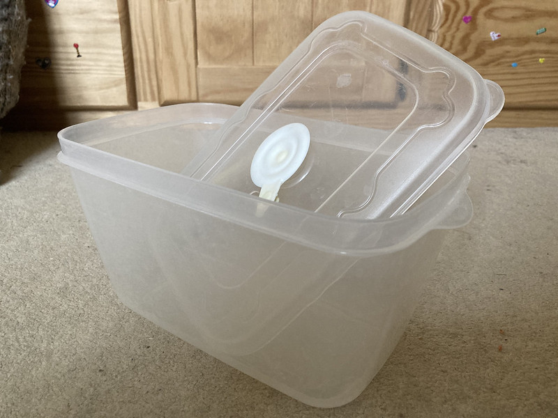 This Plastic Tub With Rubber Top Seal.