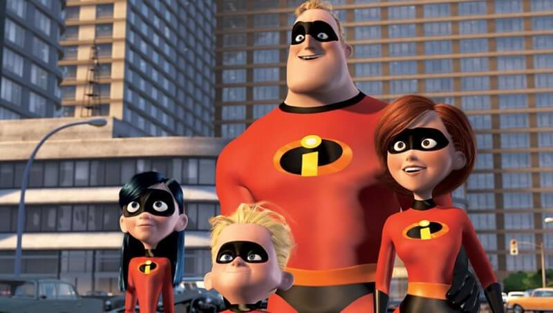 The Incredibles family wearing their superhero costumes.
