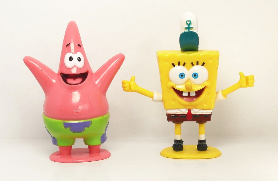 SpongeBob Squarepants and Patrick Star from the show are very popular with their stupid jokes.