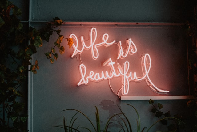 Neon light quotes are cool.