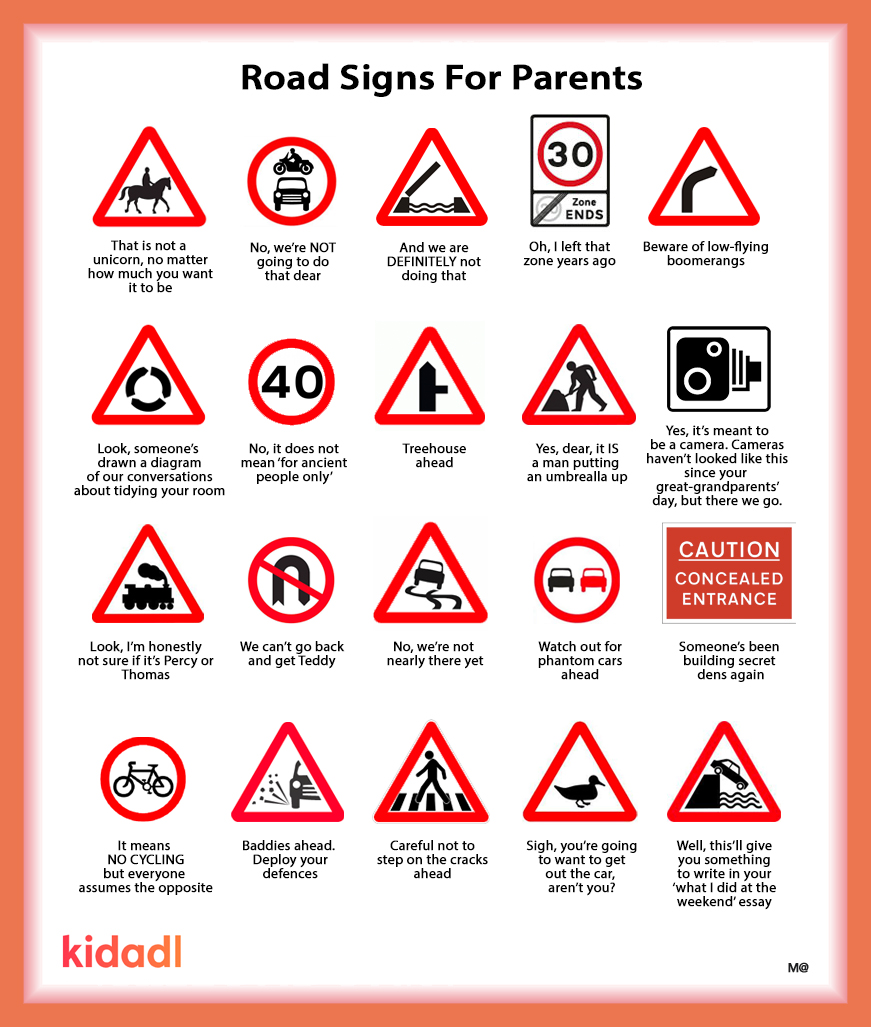 Several road signs that you would come across while driving.