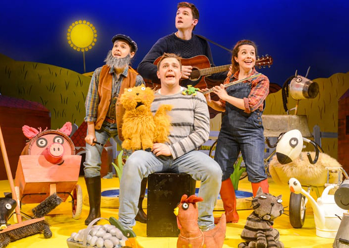 The cast of What the Ladybird Heard sings a song.