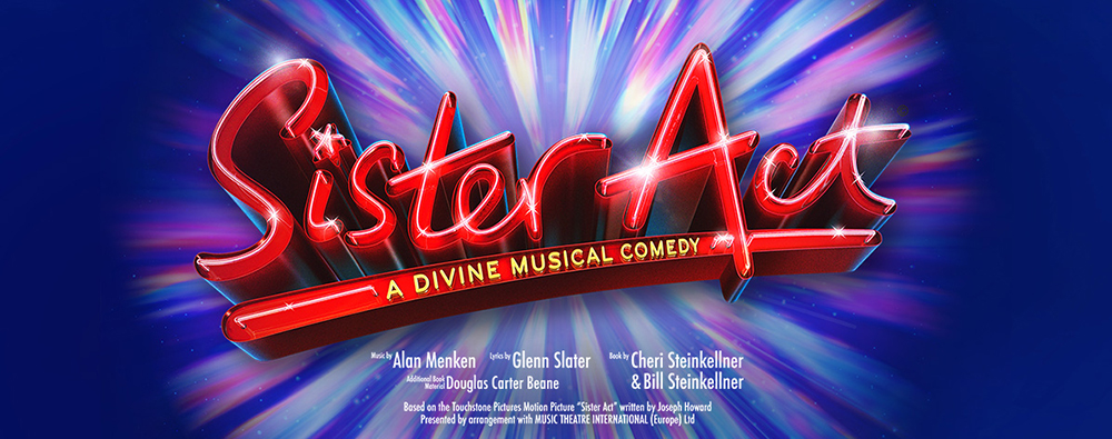 Red Sister Act logo against blue and purple background.