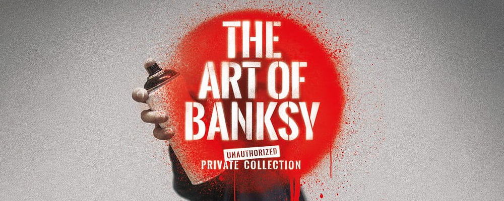A graffiti artist standing behind Art of Banksy text with a spray can on the promotional poster.