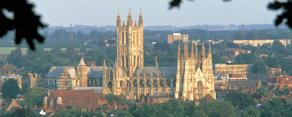 Canterbury Cathedral dominating the skyline of Canterbury.
