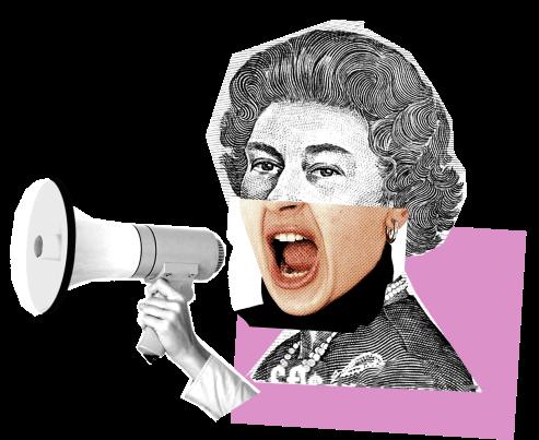 Queen with megaphone