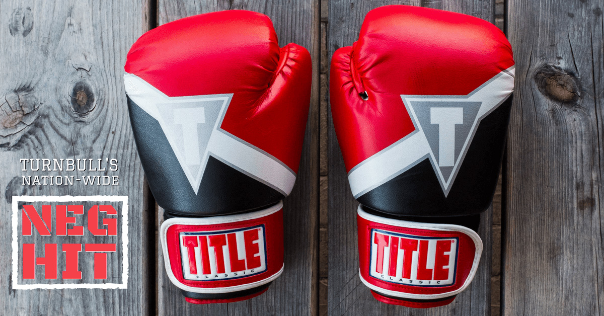 Turnbull's Nation wide neg hit red boxing gloves