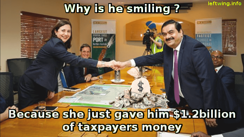 Image of man and woman shaking hands with the caption: Why is he smiling? Because she just gave him $1.3 Billion of taxpayers money