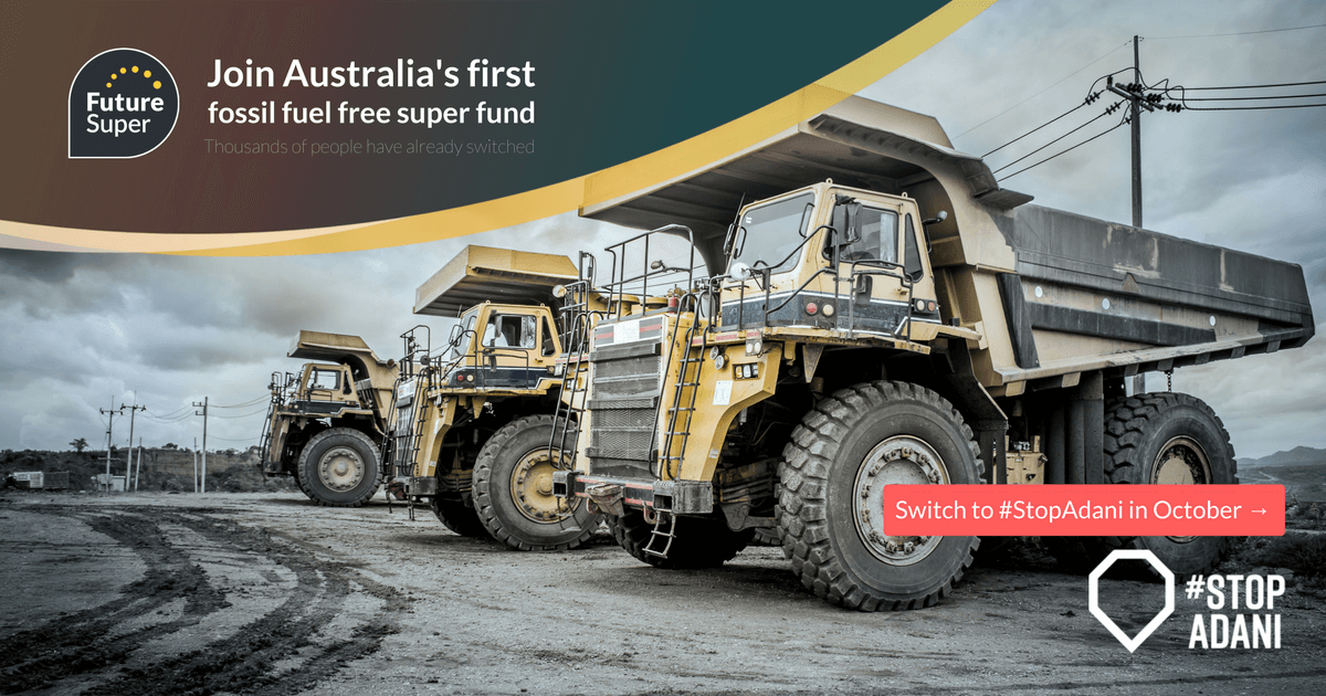 Image of coal trucks parked next to each other - Join Australia's first fossil fuel free super fund.