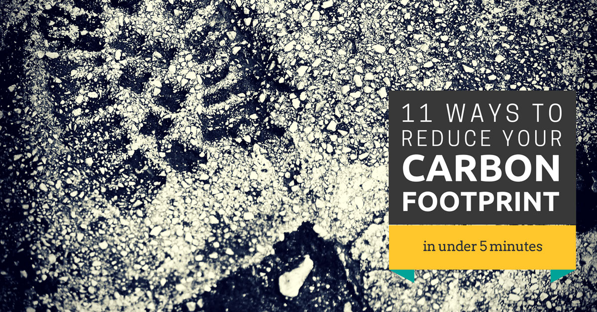 image of footprint in sand with caption: 11 Ways to reduce your carbon footprint