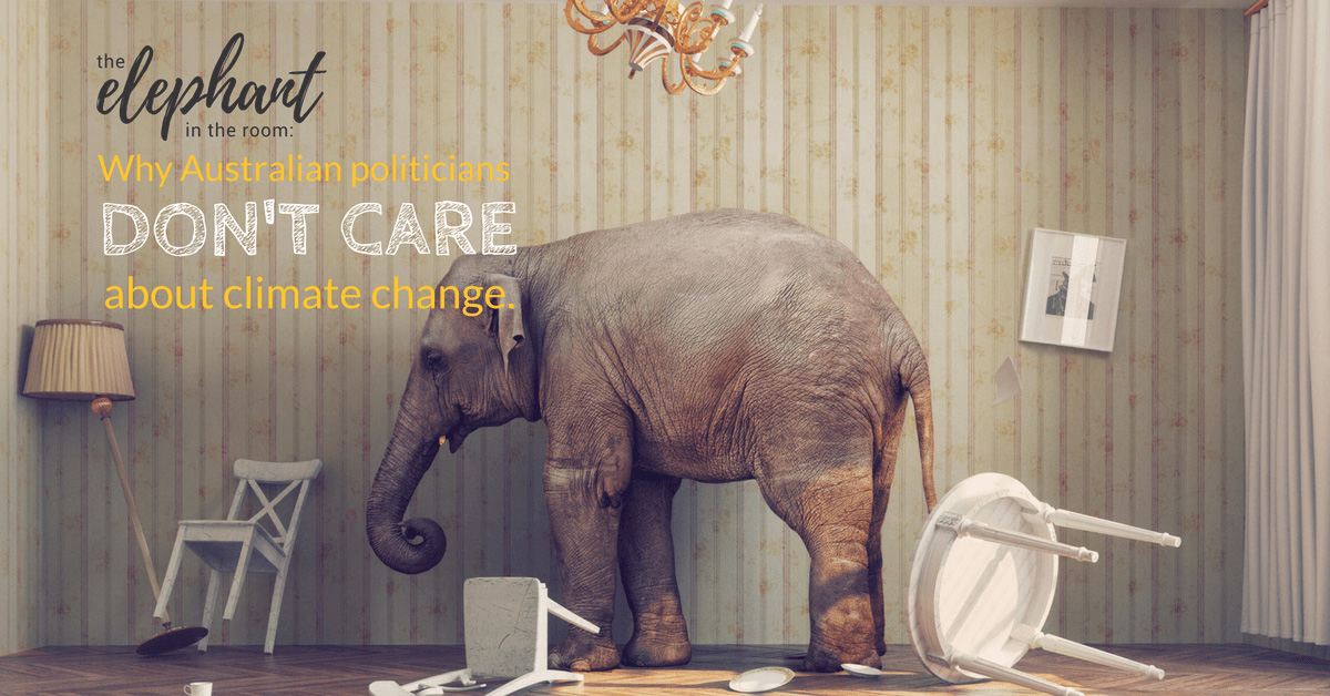 "Image of an elephant in a room with furniture bumped over with caption ""The Elephant in the room - Why austrailian politicians don't care about climate change."""