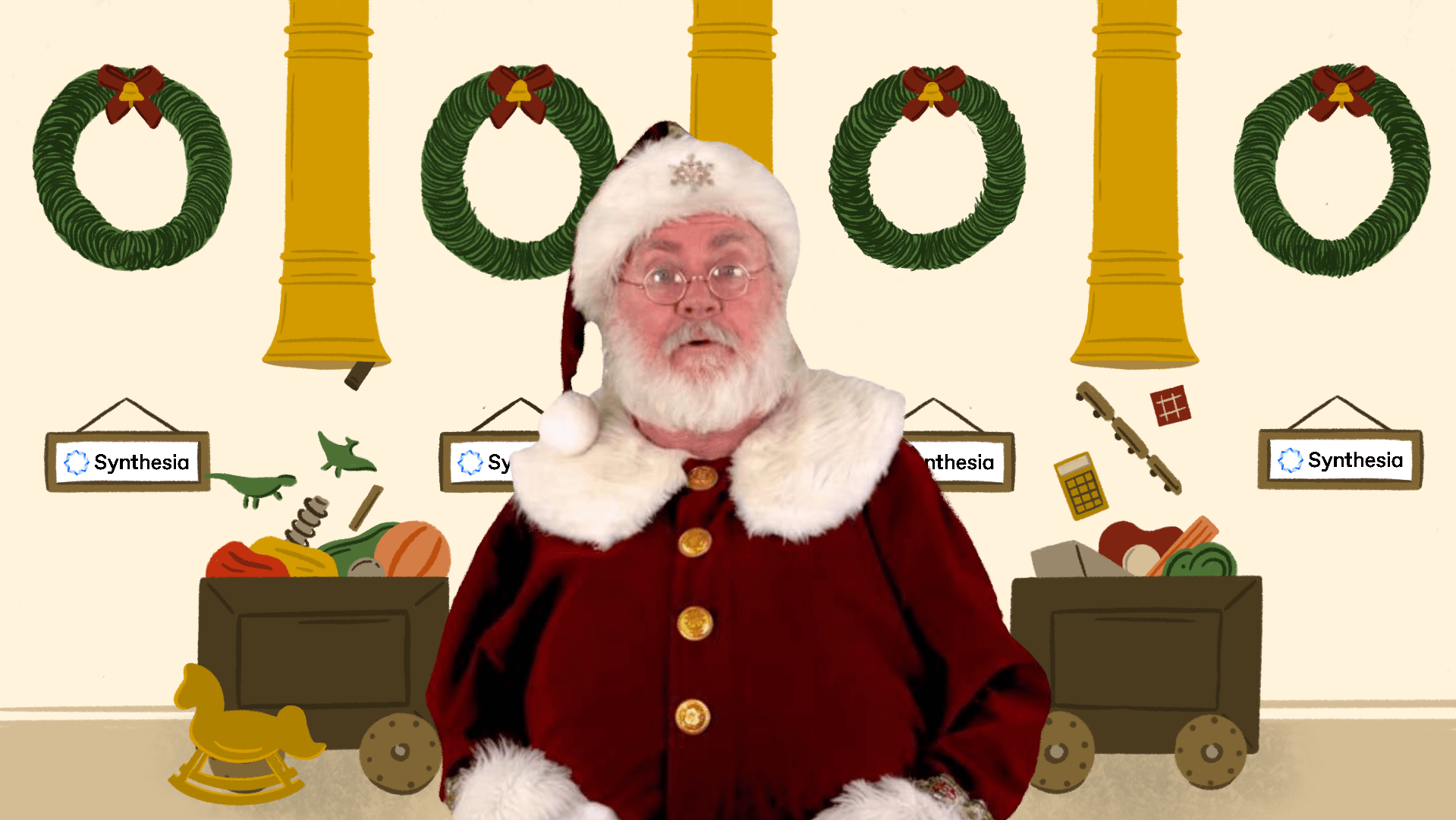 Santa video background toy factory