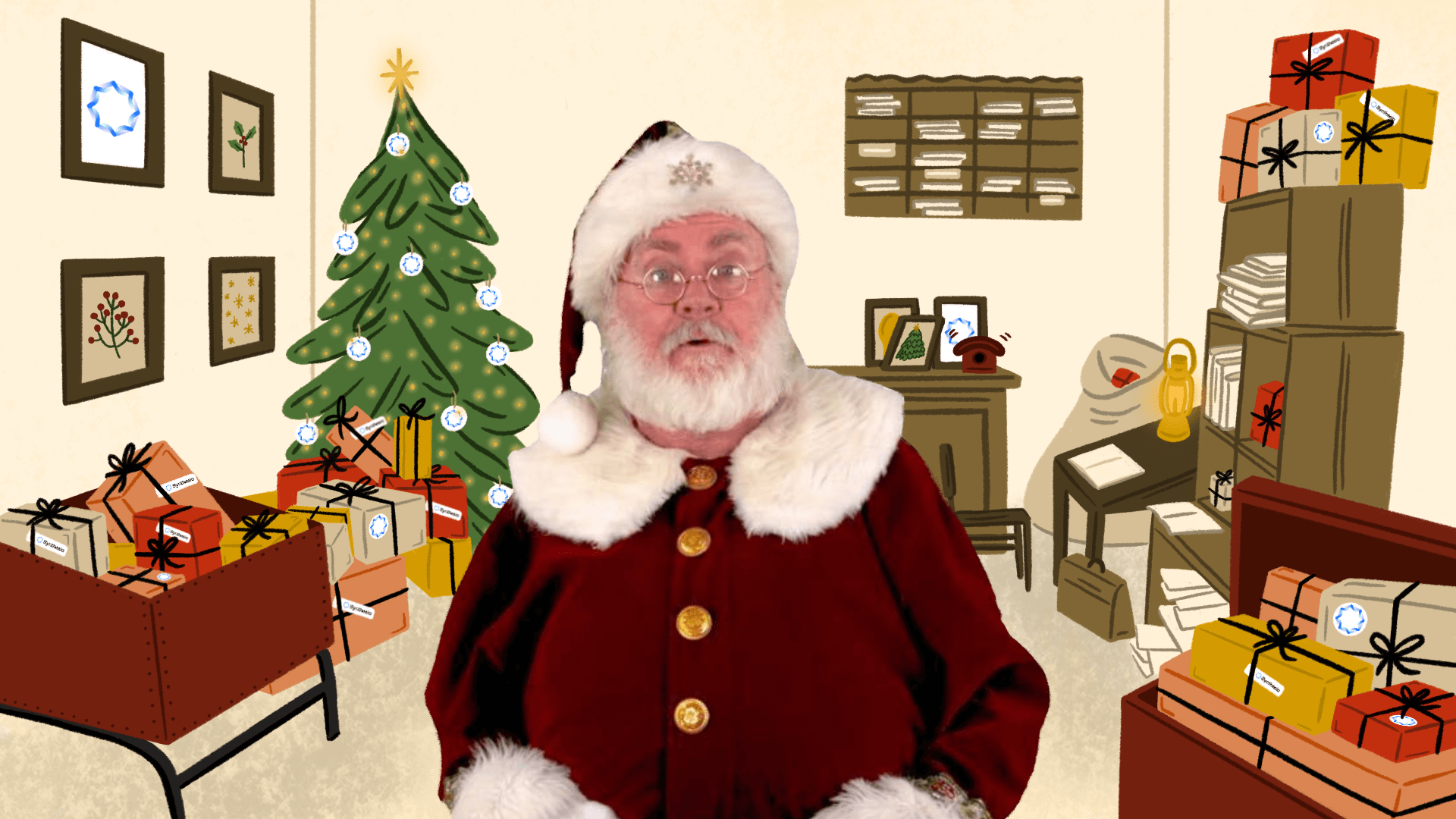 Santa video background in the office