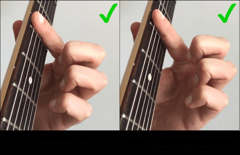 position de l'index pour faire des accords barrés à la guitare