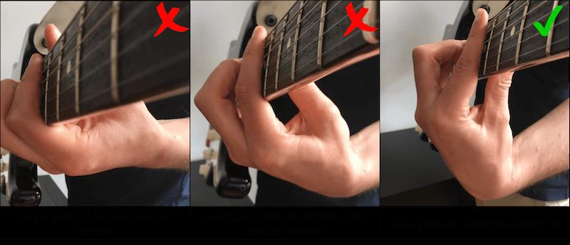 Position du poignet pour réussir à faire un accord barré à la guitare