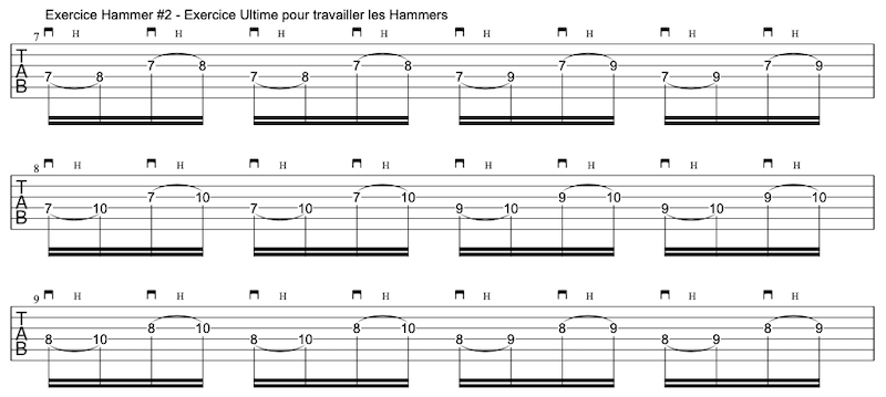 tablature exercice #2 hammer-ons à la guitare