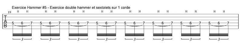 tablature exercice Hammers à la guitare #5 en sextolets