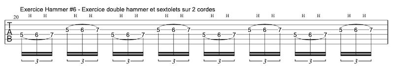 tablature exercice Hammers à la guitare #6 en sextolets