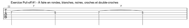 tablature exercice Pull-offs à la guitare #1