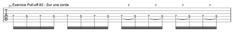 tablature exercice Pull-offs à la guitare #2