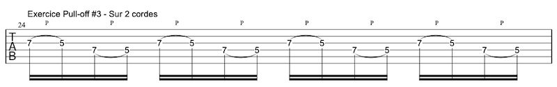 tablature exercice Pull-offs à la guitare #3