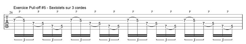 tablature exercice Pull-offs à la guitare #5