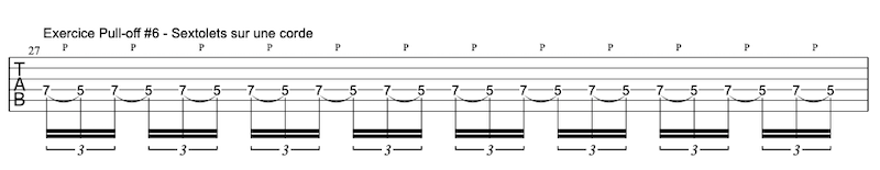 tablature exercice Pull-offs à la guitare #6