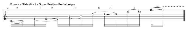 Tablature exercice slide / glissé à la guitare #4
