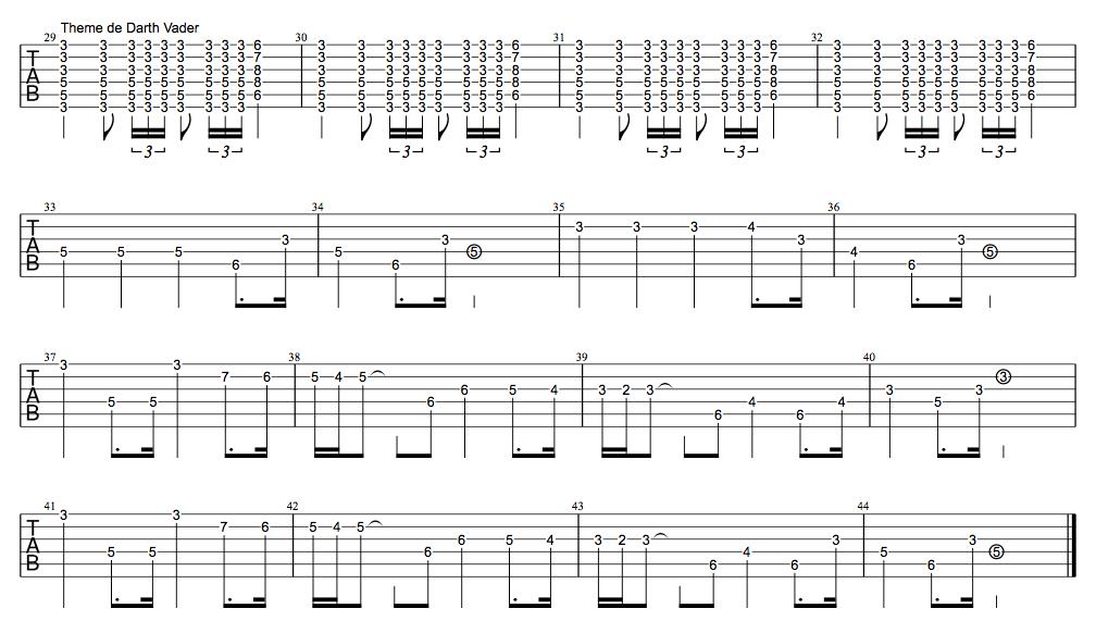 Tablature Thème de dark vador star wars guitare