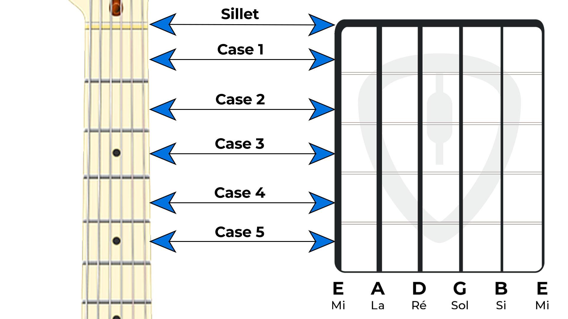 frettes et case diagramme d'accords