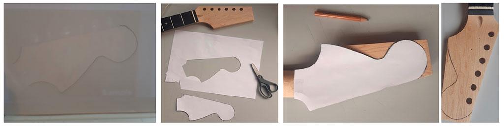 faire un gabarit de tête de stratocaster guitare en kit