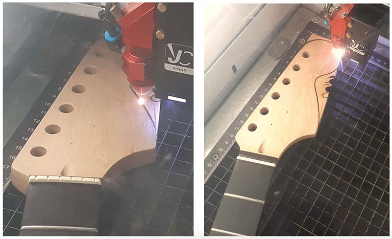découpe forme tête strato guitare en kit