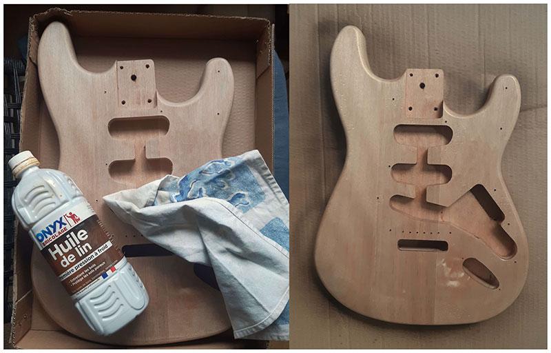 huilage stratocaster guitare en kit harley benton