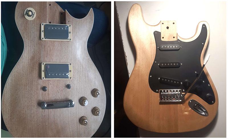 montage 2 corps guitares en kit strato les paul
