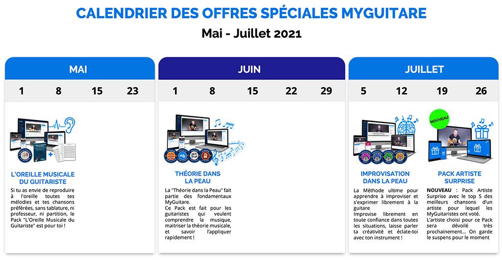 calendrier offres spéciales myguitare printemps 2021