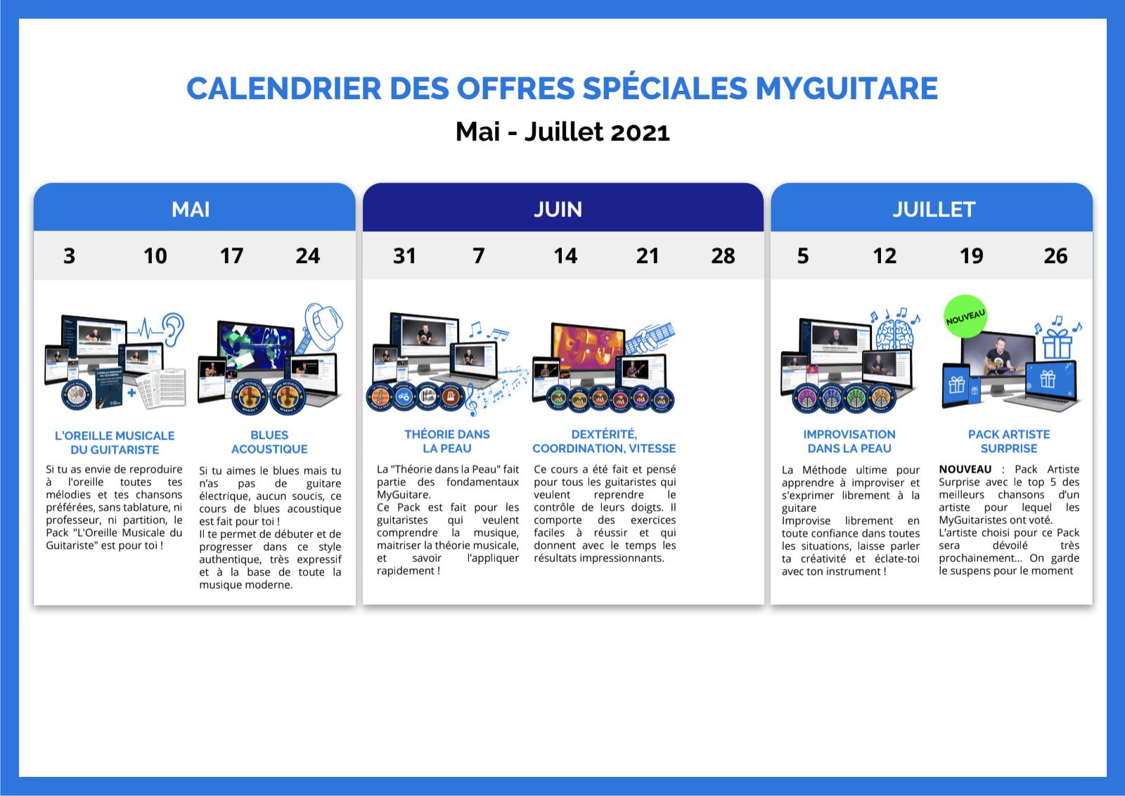 calendrier offres speciales mai juillet 2021 myguitare