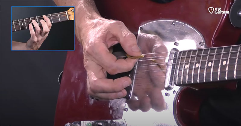 appui main rythmique guitare jouer powerchords