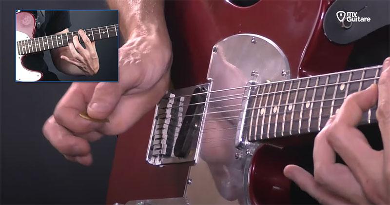 appui main rythmique guitare jouer solo