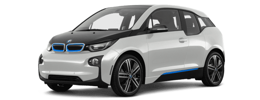 White BMW electric hatchback