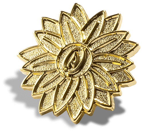 Flower Gold Die Struck Pin PinProsPlus