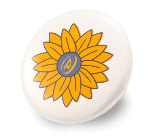 Yellow Flower Button Pin PinProsPlus